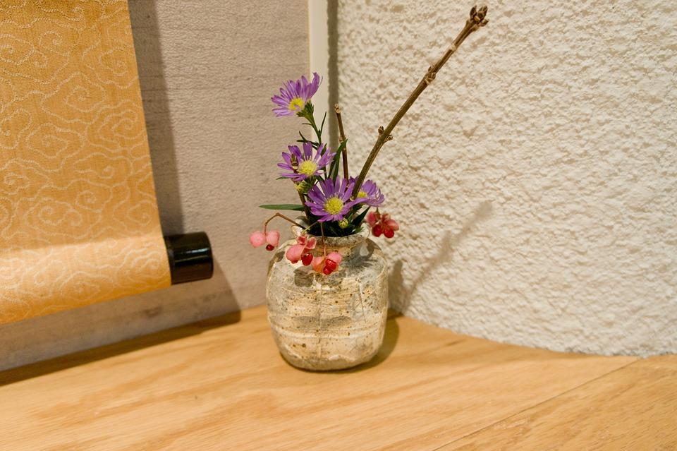 Flower Arrangement, Hanging Scroll, Japan