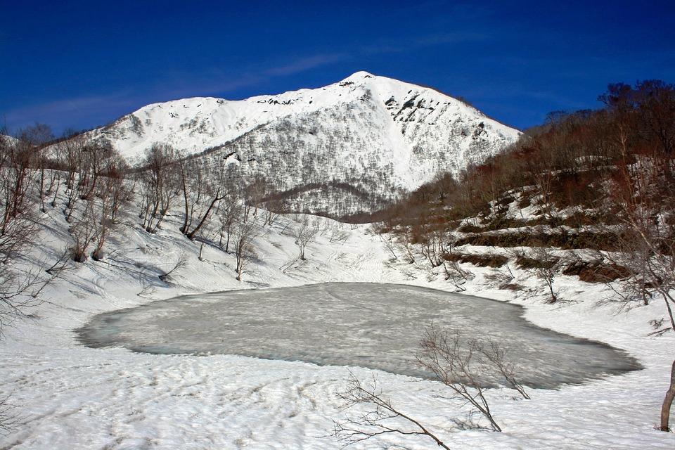 Japan, Landscape, Winter, Snow, Ice, Pond, Mountains