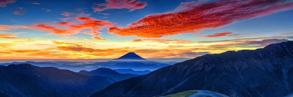 Mount Fuji, Volcano, Japan, Morning Glow, Landscape