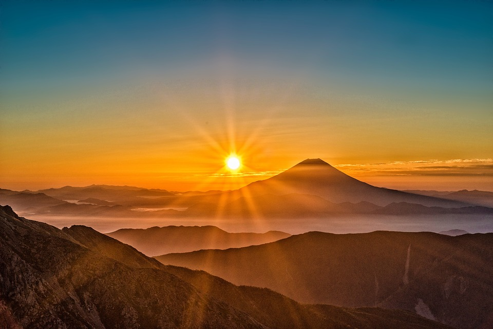 Sun, Mt Fuji, Japan, Landscape, The Southern Alps