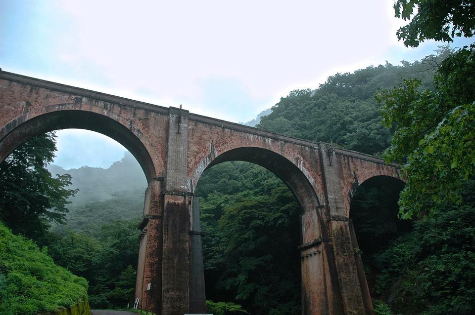 Bridge, Japan, Nagano, Red Brick