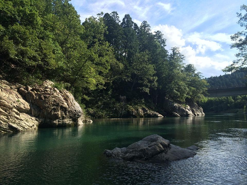River, Japan, Let, Natural, Water, Valley, Green
