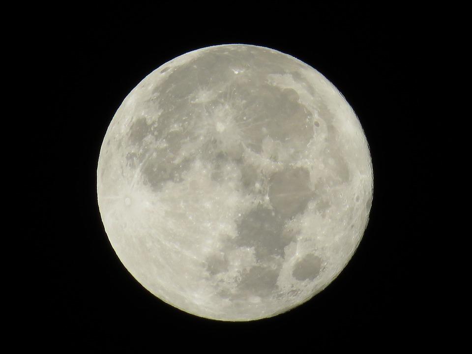 Moon, Full Moon, Japan, Night With A Full Moon