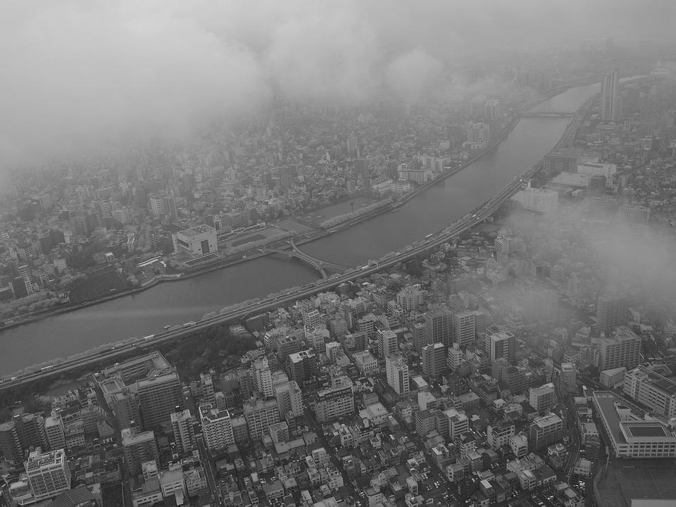 Bird's Eye View, Sumida River, Japan, Tokyo