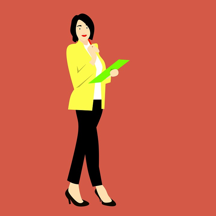 Asian, Japanese, You, Business Woman, Folder, Clipboard