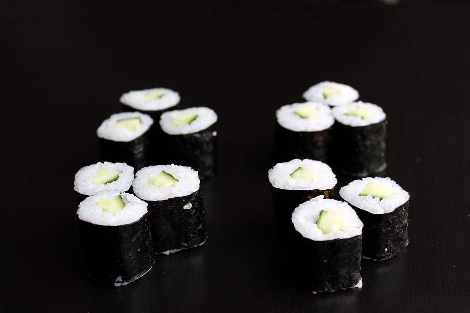 Sushi, Maki, Cucumber, Rice, Algae, Japanese, Food