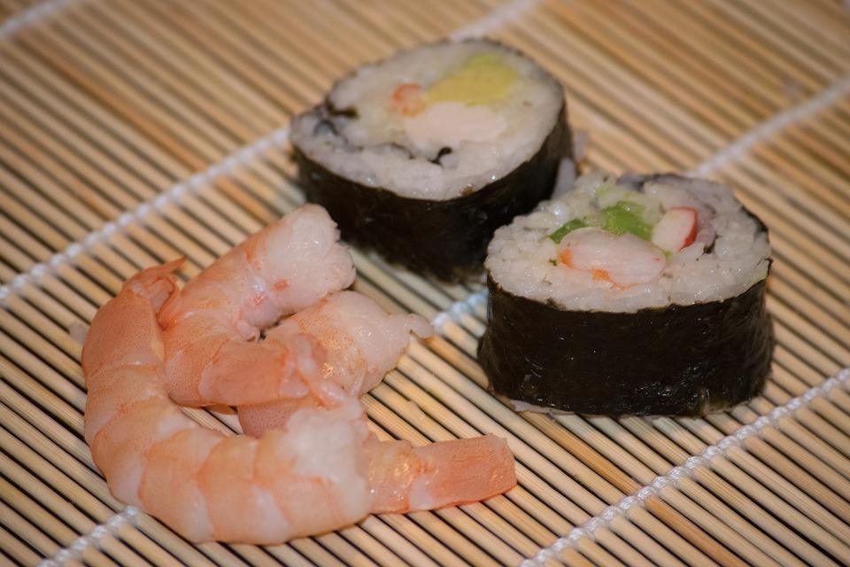 Sushi, Shrimp, Dinner, Japanese, Meal, Food, Rice