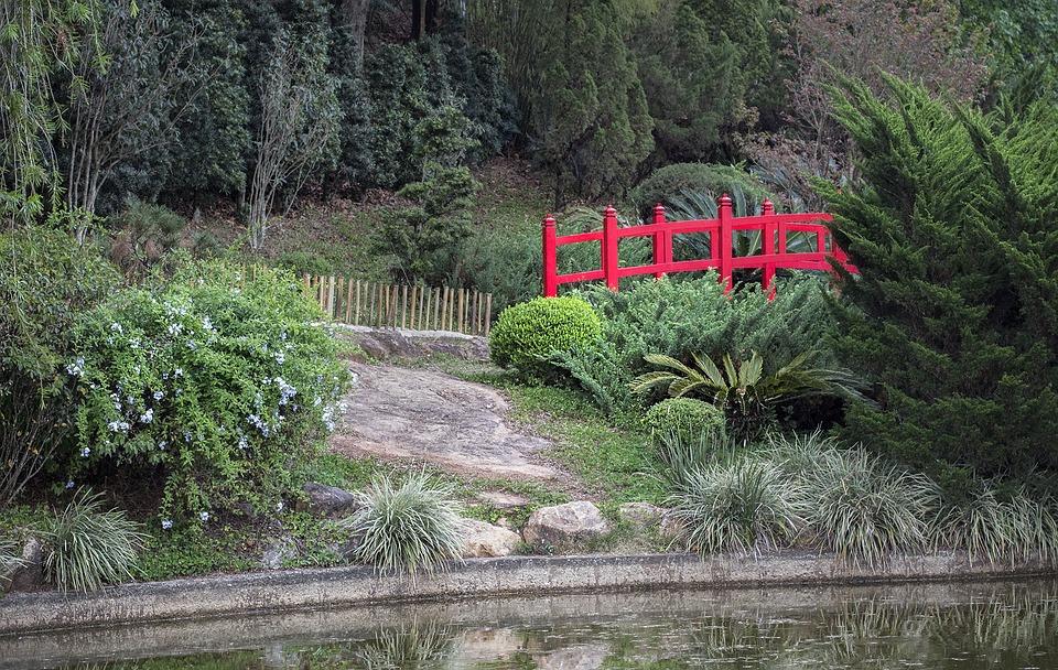 Garden, Japanese, Japanese Garden, Lake, Red Bridge