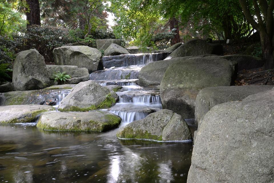 Water, Japanese Garden, Reflection, Rocks, Japanese