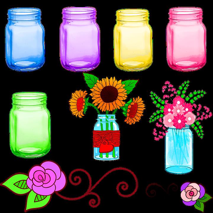 Mason Jars, Colorful, Flowers, Mason, Garden, Jar, Leaf