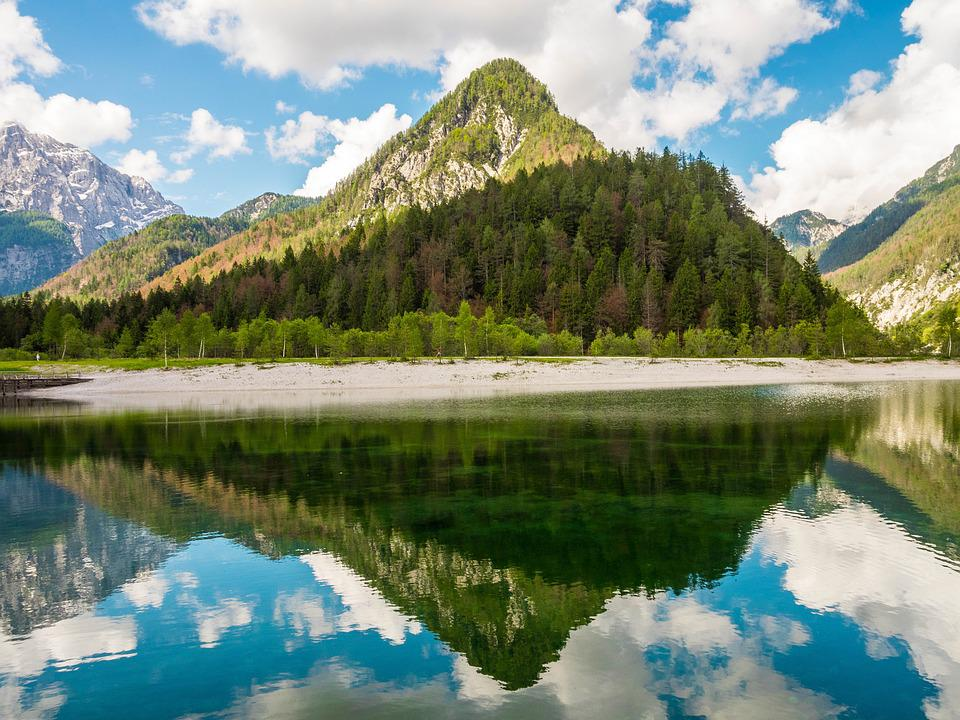 Jasna Lake, Slovenia, Mirroring, Mountains, Sky