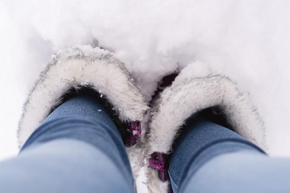 Snow, Winter, Stand, Shoes, Feet, Legs, Boots, Jeans