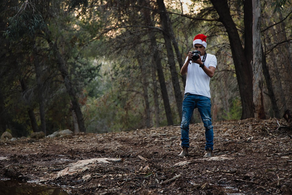 Christmas, White Shirt, Jeans, Forest, Photography