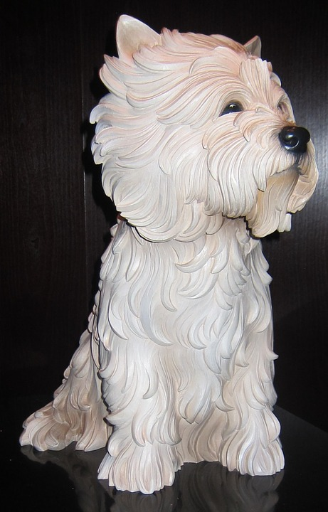 White, Terrier, Sculpture, Wood, Polychromed, Jeff