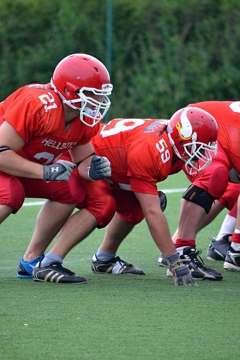 Football, American Football, Helmet, Red, Jerseys