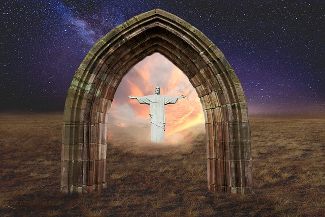 Jesus Christ, Jesus, Archway, Sunset, Sunrise