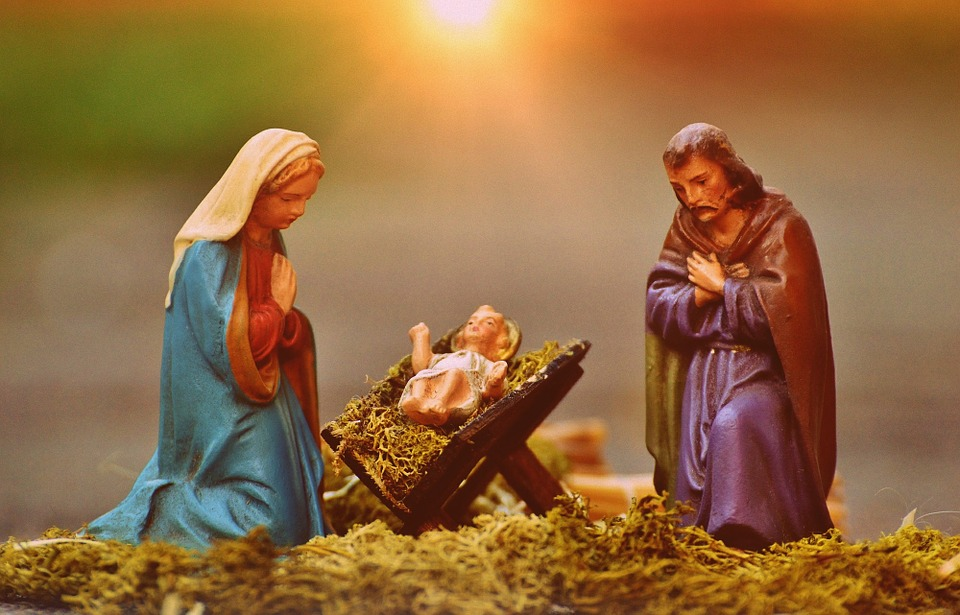 Christmas Crib Figures, Mary And Joseph, Jesus, Fig