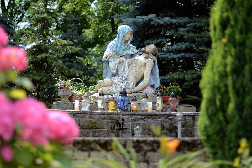 Jesus, Mary, Prayer, The Statue, Flowers, Green, Nature
