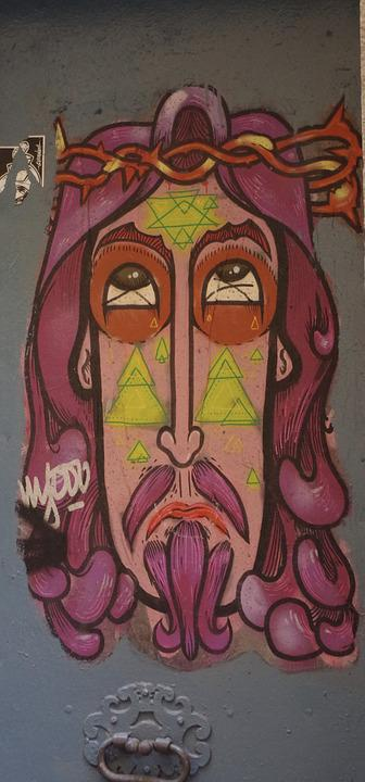 Graffiti, Jesus, Street Art, Grunge, Ink, Artwork