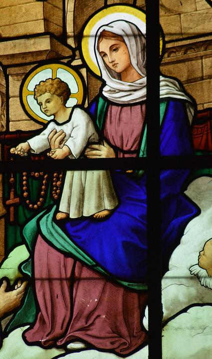 Stained Glass, Window, Church, Detail, Mary, Jesus