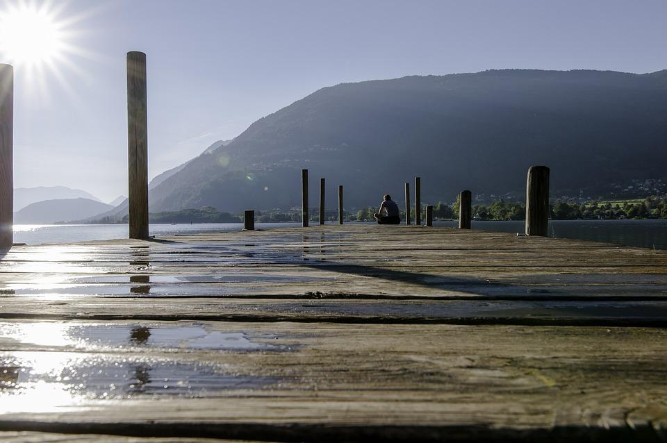 Web, Lake, Sun, Water, Jetty, Nature, Autumn, Sky