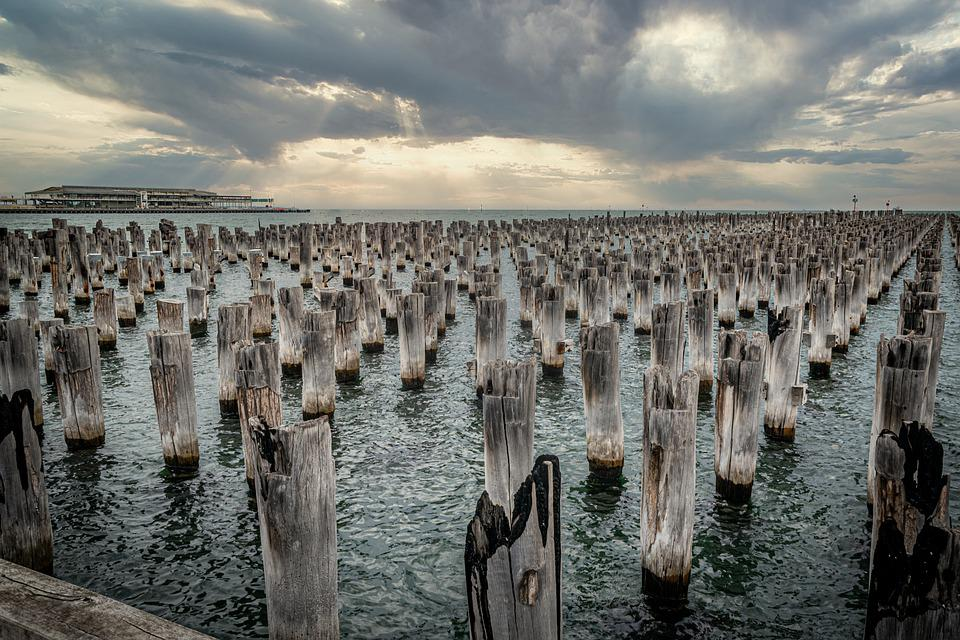 Pier, Remains, Outdoors, Sky, Jetty, Clouds, Seaside
