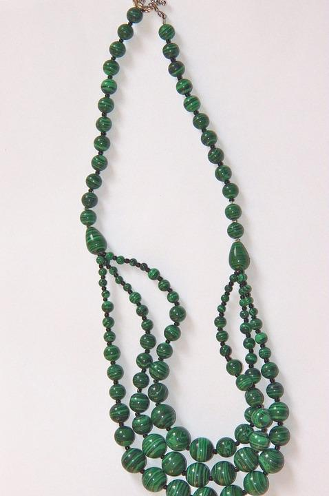 Malachite, Necklace, Gems, Jewelry, Green, Jewel