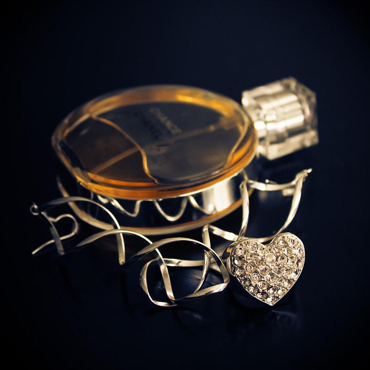 Gold, Jewelry, Perfume, Fashion, Heart, Glamour