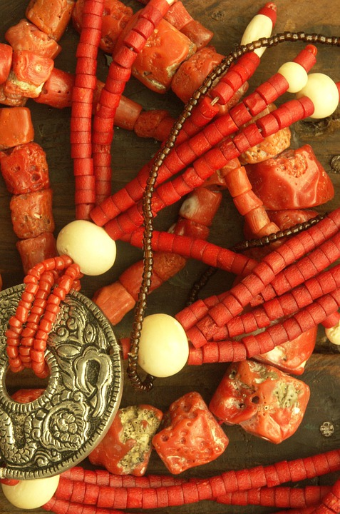 Coral, Necklace, Jewelry, Red, Necklaces