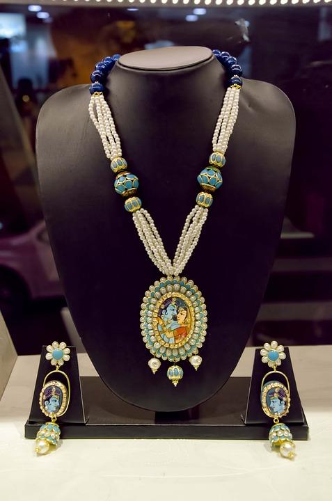 Necklace, Earrings, Krishna, Pendant, Beads, Jewelry