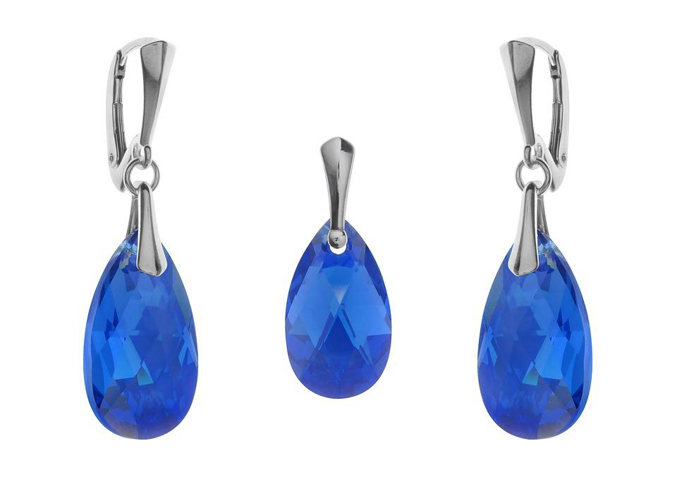 Set, Jewelry, Sapphire, Ornaments, Pendant