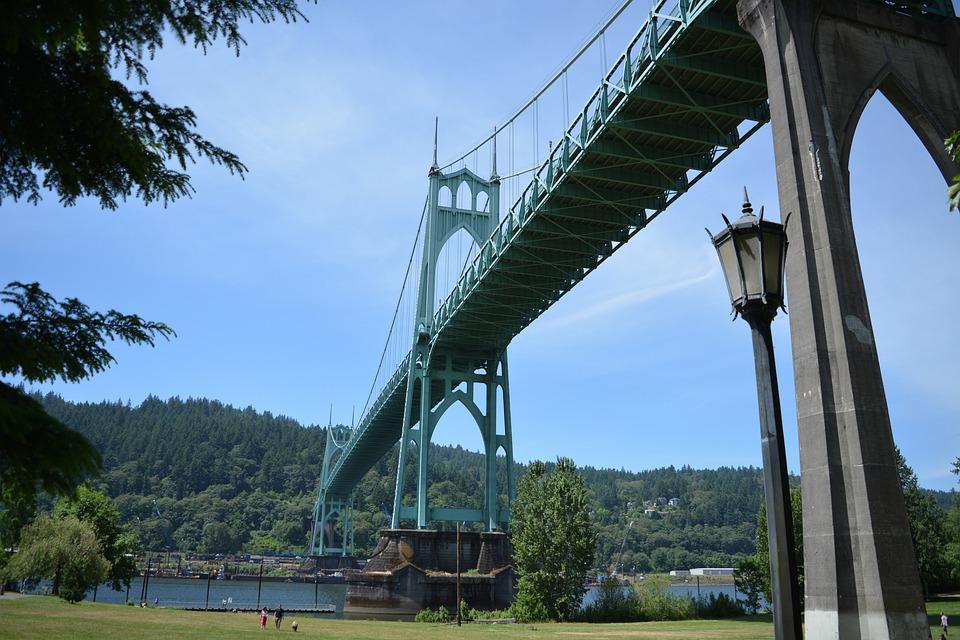 St, John's Bridge, North Portland, Bridge, Gothic, Usa