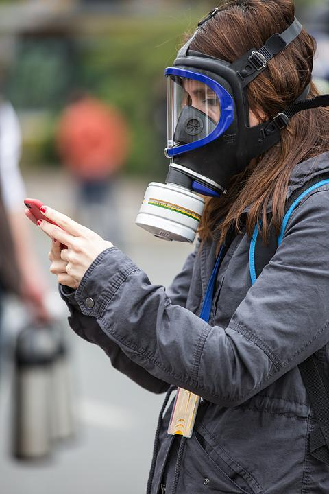 Gas Mask, Phone, Women's, Human, Press, Journalist