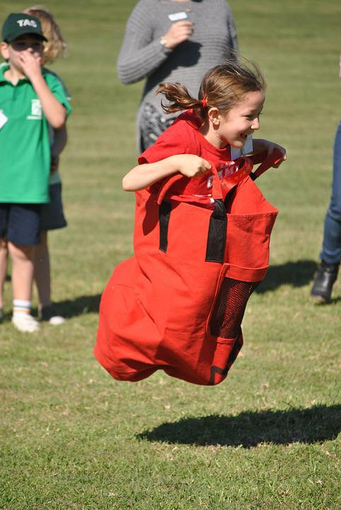 Jump, Joy, Child, Hop, Active, Bag, Game, Competition