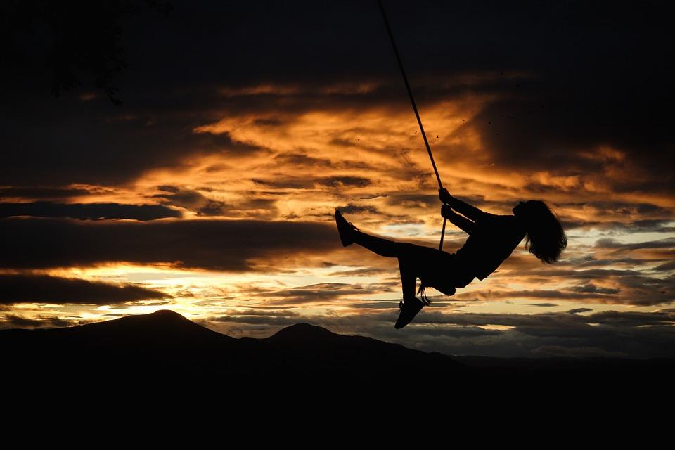 Sunset, Rope Swing, Clouds, Memory, Childhood, Joy
