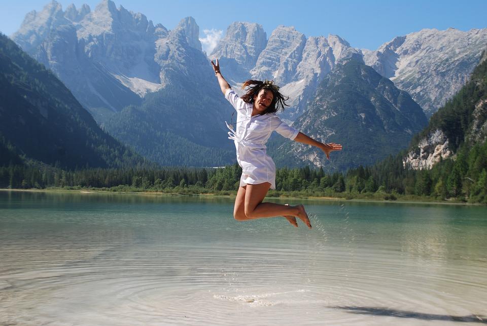 Girl Jumping For Joy, Girl Happy, Happy, Joy, Nature