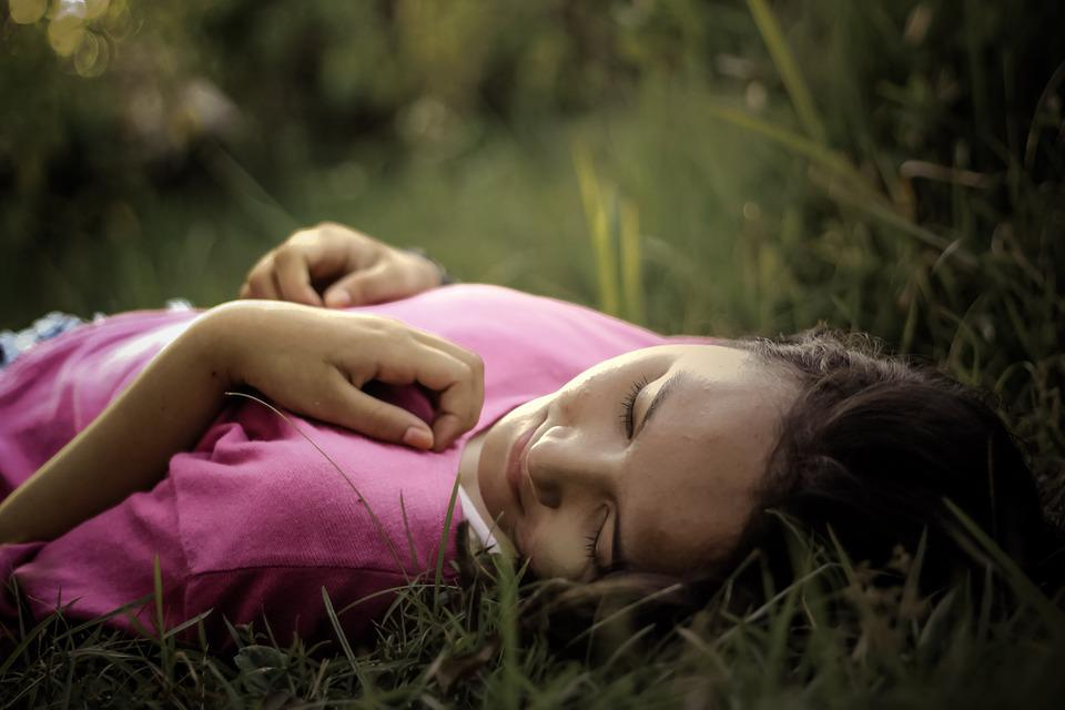 Woman, Young, Grass, Smile, Joy, Relaxing, Lying, Light