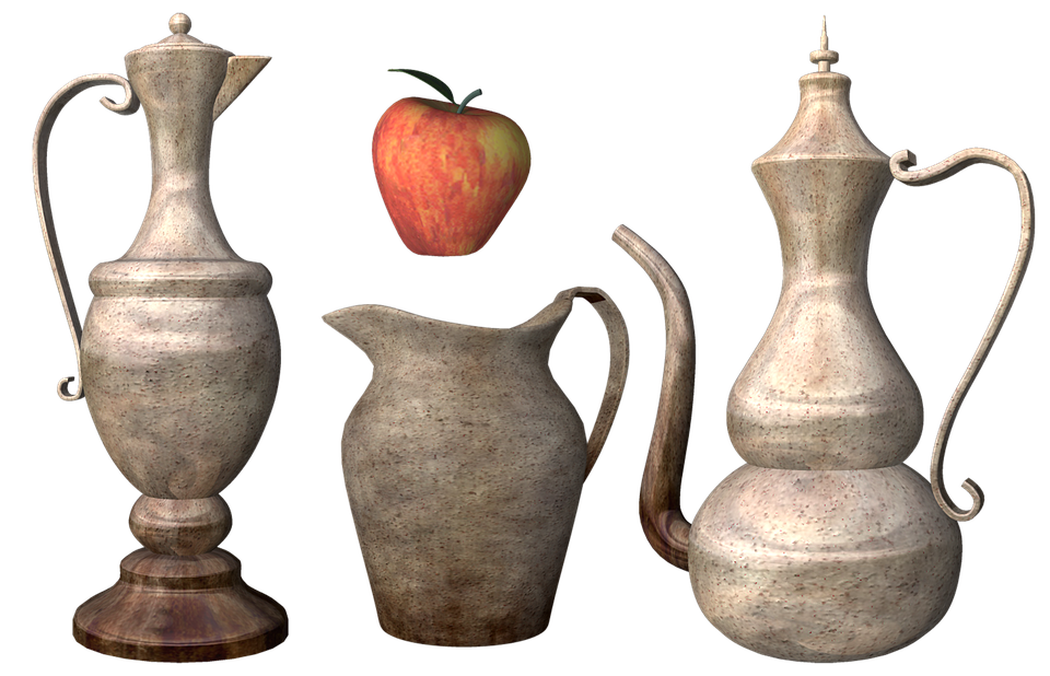 Vase, Pitcher, Jug, Cup, Amphora, Stoneware, Apple