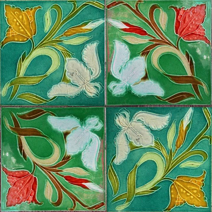 Free photo Jugendstil Ceramic Wall Tile Art Nouveau Tile - Max Pixel