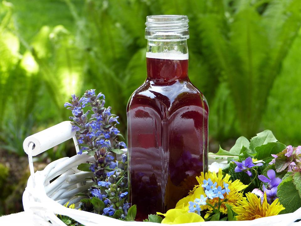 Juice, Flowers, Bottle, Glass, Self-made, Spring