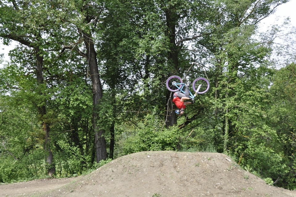 Cyclists, Acrobatic, Sport, Fun, Somersault, Jump