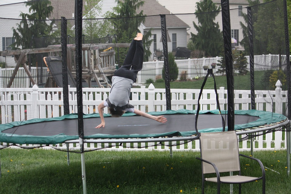 Trampoline, Jump, Child, Fun, Activity, Backyard