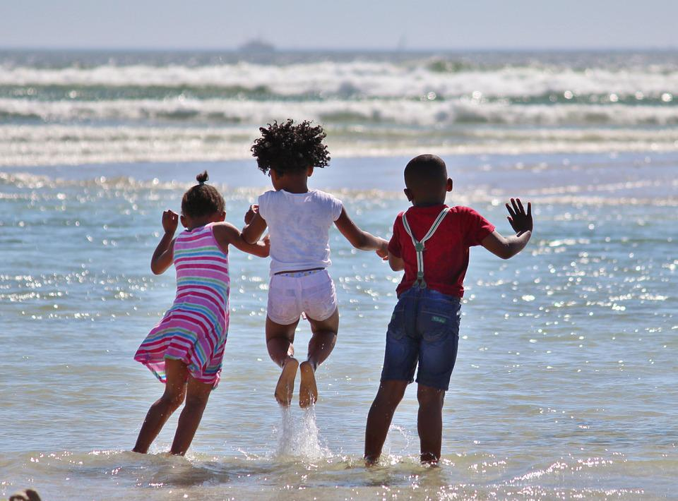 Children, Beach, Sea, Ocean, Jump, Wave, Fun, Water