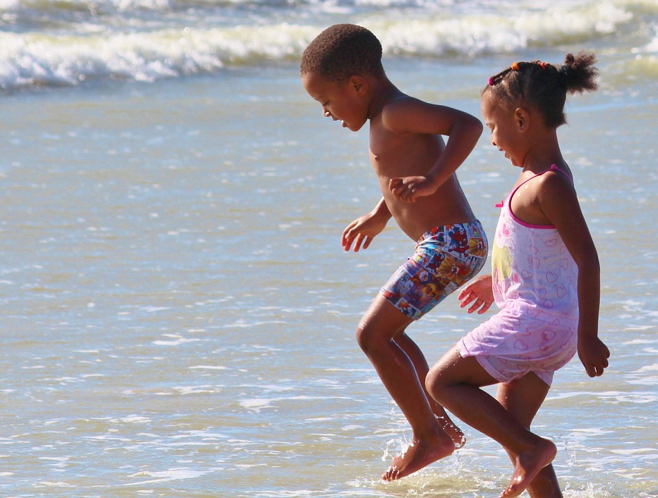 Children, Play, Beach, Water, Sea, Fun, Jump