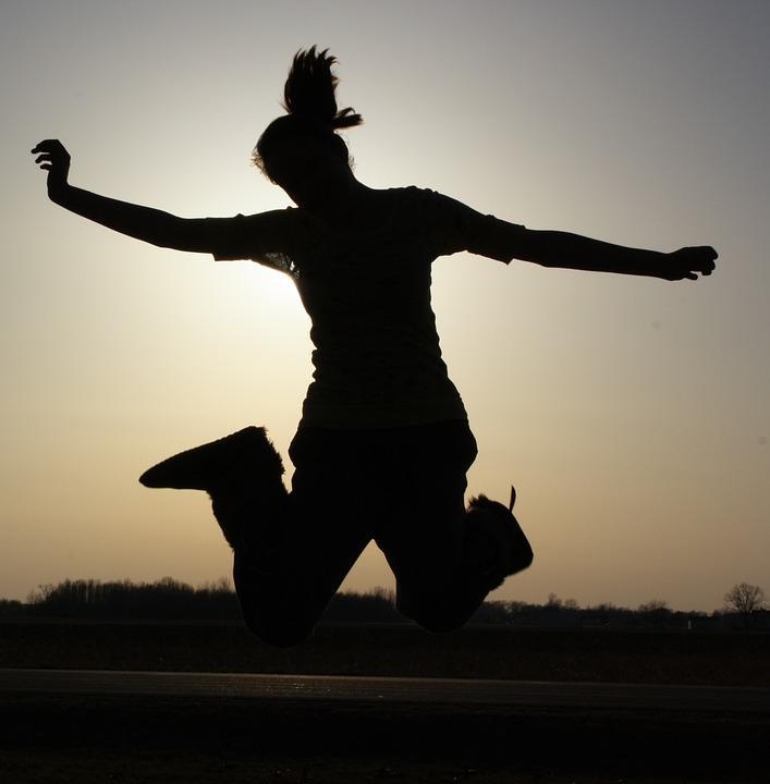 Girl, Joy, Shadow, Young, Happy, Jump, Silhouette