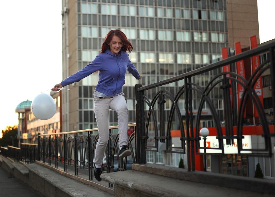 Joy, A Walk Through The City, Jump, Mood, Girl