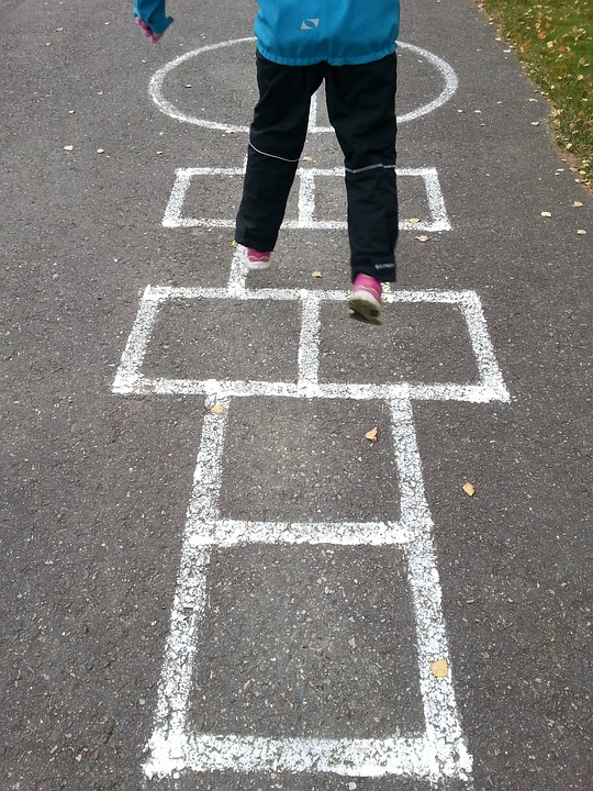 Jump, Child, Man, Finnish, Girl, Panel, Play Hopscotch