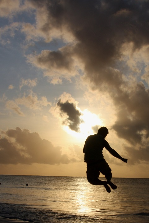Man, Fun, Jump, Sea, Ocean, Sunrise, Morning