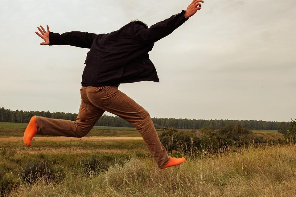 Joy, Jump, Nature, Field, Socks, Orange, Jacket, Man