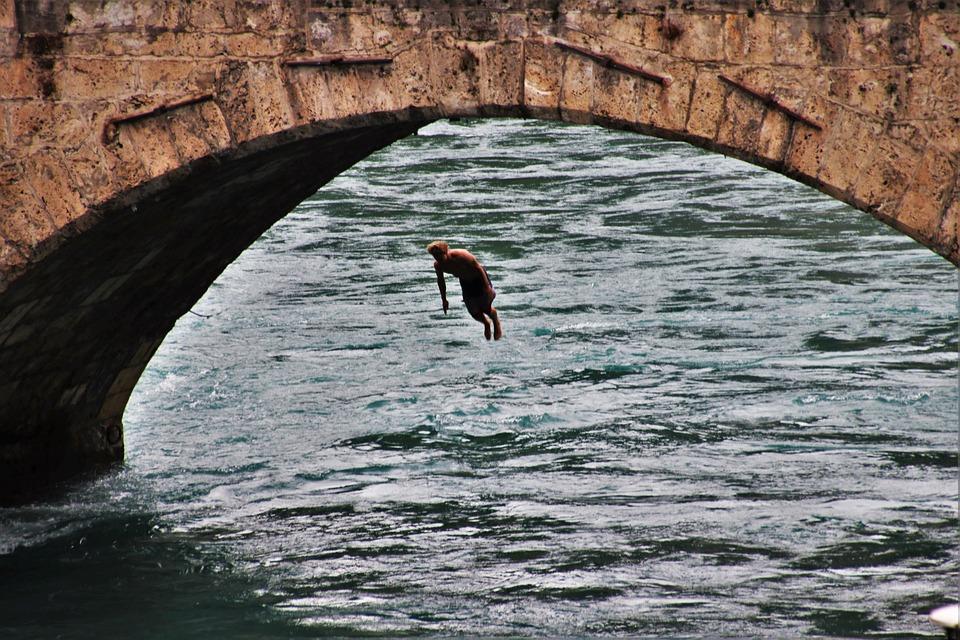 Jump, Bridge, River, Bern, Effort, Jumping, Young